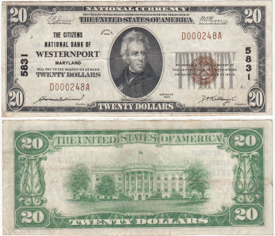 1929. $20. VF+. MD. Westernport, Citizens National