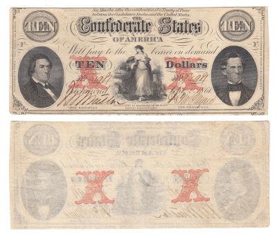 1861. $10. VF. T-26.