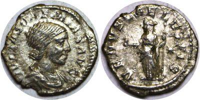 218-230 AD. Silver Denarius. AU. Julia Maesa.
