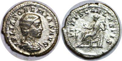 218-222 AD. Silver Denarius. XF. Julia Soaemias.