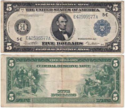 1914. $5. F-844-891. FINE. FRN.