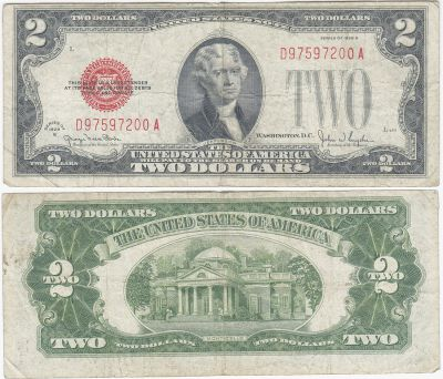 1928. $2. FINE. Legal Tender Note.