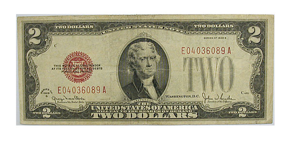 100689- 1928. $2. FINE. Legal Tender Note.