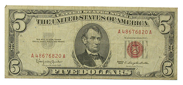 100699- (1953-63). $5. FINE. Legal Tender Note.