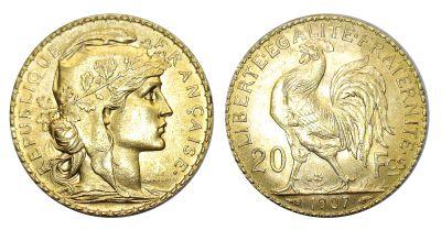 1899-1914. France. 20 Franc. Select BU.
