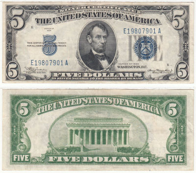 1934. $5. F-1650. VF+. Silver Certificate.