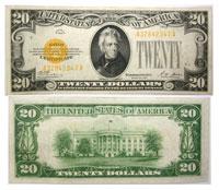 1928. $20. CAU. Gold Certificate.