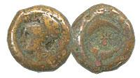 344-336 BC. Syracuse. Bronze Litras. FINE. Timoleo