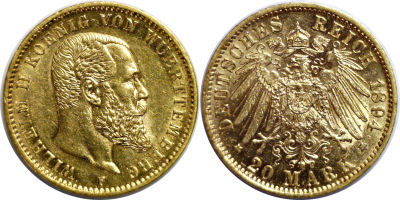 1894-F. Germany. 20 Marks. CAU.
