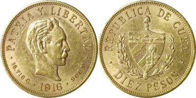 1916. Cuba. 10 Pesos. AU.