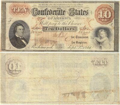 1861. $10. VF. T-24.