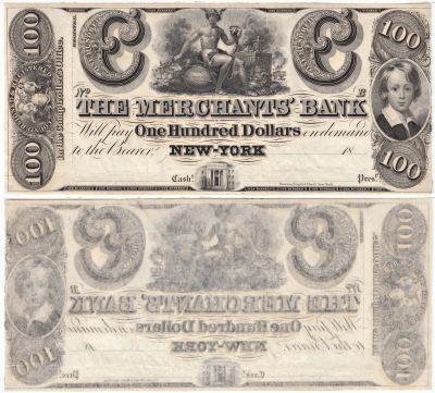 1840's. $100. CCU. NY.