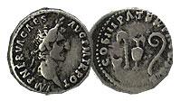 96-98 AD. Silver Denarius. VF. Nerva.