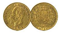 1861-1878. Italy. 20 Lire. AU.