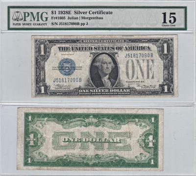 1928-E. $1. F-1605. PMG. Ch F-15. Silver Certifica