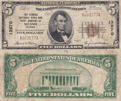 1929. $5. VG. FL. Miami. Charter 13570.