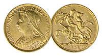 1893-1901. England. Sovereign. AU.