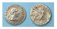 145-135 BC. Bactrian Kingdom. Silver Drachm. CAU.