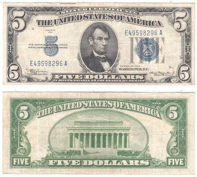 1934. $5. F-1650m. VF. Silver Certificate.