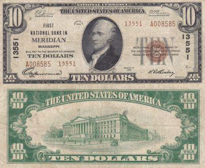 1929. $10. Fine+. MS. Meridian. Charter 13551.