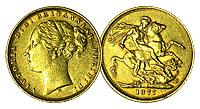 1871-1887. England. Sovereign. AU.