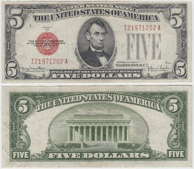 1928-F. $5. VF. Legal Tender Note.