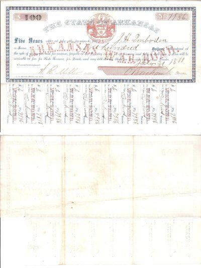1861. $100. VF. AR.