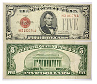 1928-E. $5. VF. Legal Tender Note.