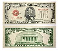 1928-E. $5. XF. Legal Tender Note.