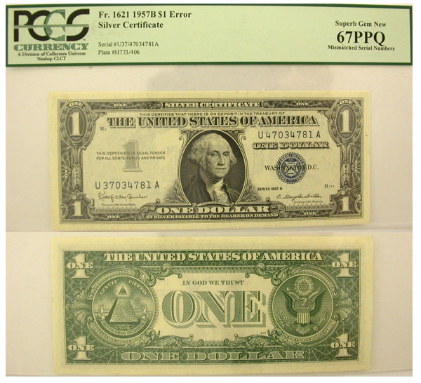 114992- 1957-B. $1. PCGS. Superb-67. PPQ. Silver Certificate.