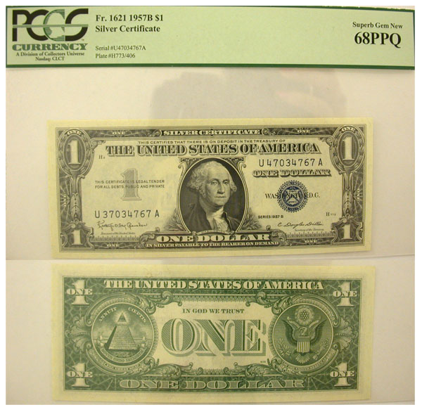114993- 1957-B. $1. PCGS. Superb-68. PPQ. Silver Certificate.