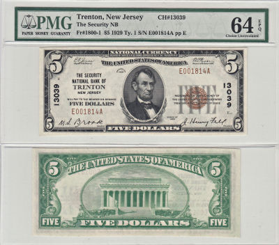 1929. $5. PMG. Ch Unc-64. EPQ. NJ. Trenton. Charte