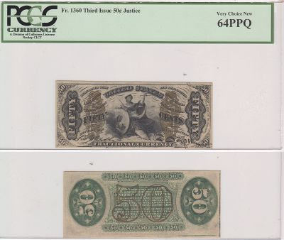 50c. 3rd Issue. PCGS. Very Ch-64. PPQ. F-1360.