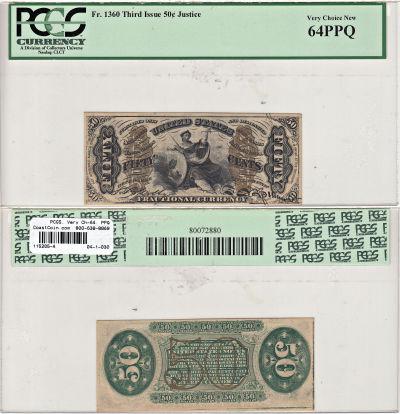 50c. 3rd Issue. PCGS. Very Ch-64. PPQ. F-1360.