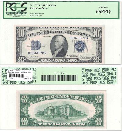 1934-D. $10. F-1705. PCGS. Gem-65. PPQ. Silver Cer