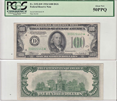 1934*. $100. PCGS. AU-50. PPQ. Federal Reserve Not