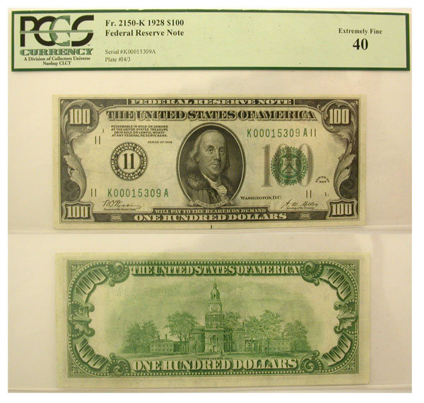 115512- 1928. $100. PCGS. XF-40. Federal Reserve Note.
