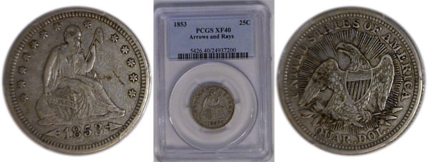 116844- 1853. PCGS. XF-40.