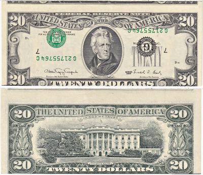 1990. $20. CCU. Federal Reserve Note.