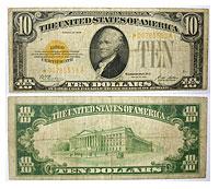 1928*. $10. VG+. Gold Certificate.
