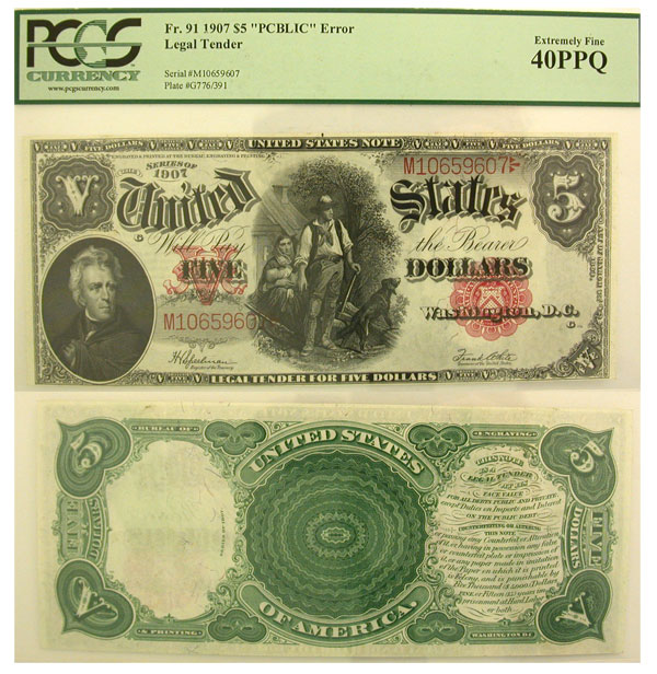116059- 1907. $5. PCGS. XF-40. PPQ. Legal Tender.