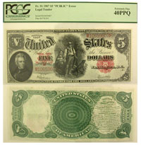 1907. $5. PCGS. XF-40. PPQ. Legal Tender.