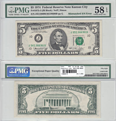 1974. $5. PMG. Ch AU-58. EPQ. Federal Reserve Note