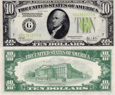 1928-C. $10. F-2003-G. CAU. Federal Reserve Note.