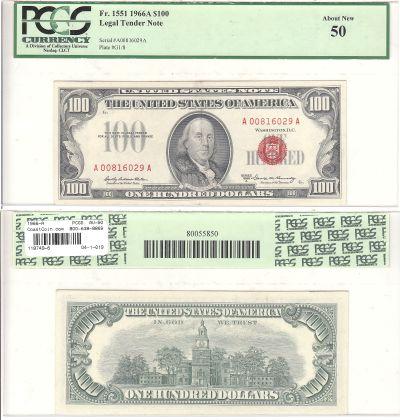 1966-A. $100. PCGS. AU-50. Legal Tender Note.