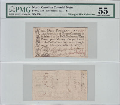 December 1771. NC. One Pound. PMG. AU-55.