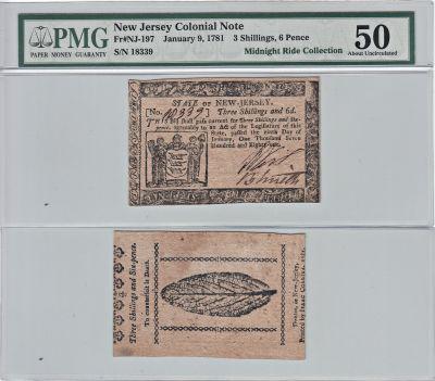 1/9/1781. NJ. Three Shillings Six Pence. PMG. AU-5