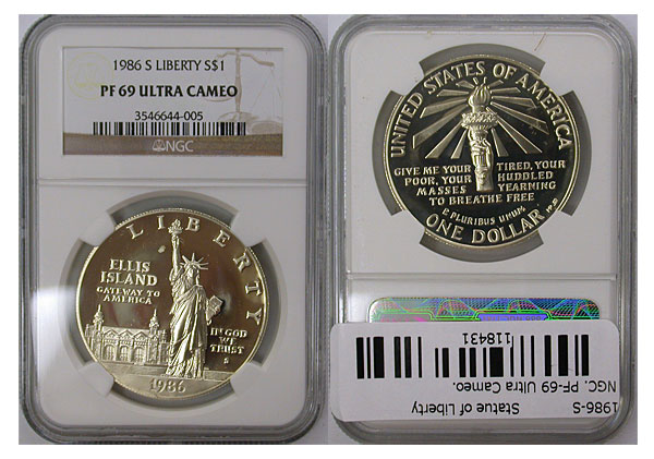 118431- 1986-S. NGC. PF-69. UCAM. Statue of Liberty.