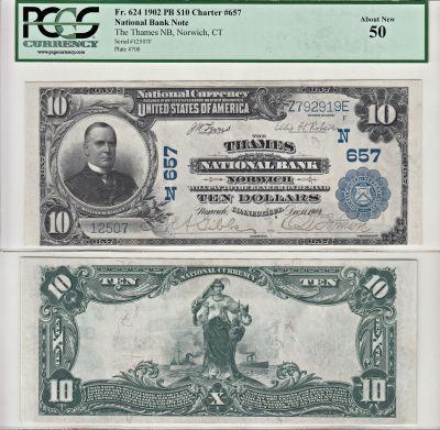 1902. $10. PCGS. AU-50. CT. Norwich. Charter 657.