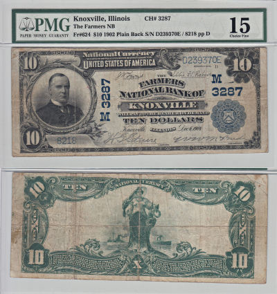 1902. $10. PMG. Ch F-15. IL. Knoxville. Charter 32